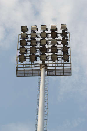 floodlit: the lamp in the sports stadium