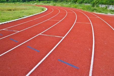 red running tracks in sport stadium