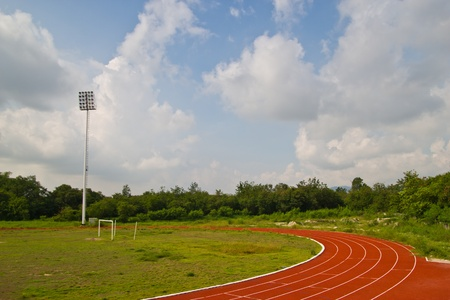 red running tracks in sport stadium