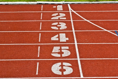 start running track rubber standard red color photo