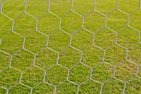 football net on green grass background photo