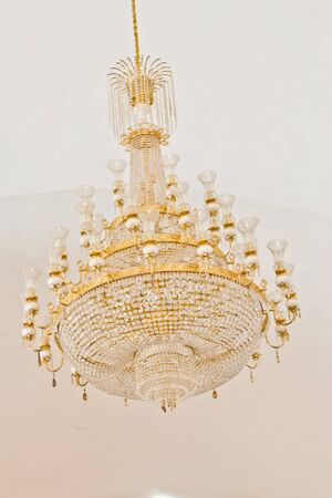 crystal Chandelier. Group of hanging crystals. photo