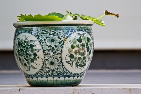 chinese antique pot adds the lotus photo