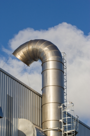 Ventilation pipes of an air conditionon a roof top. photo