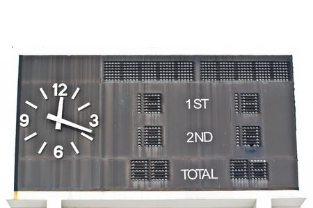 score board: Traditional score board at stadium Stock Photo