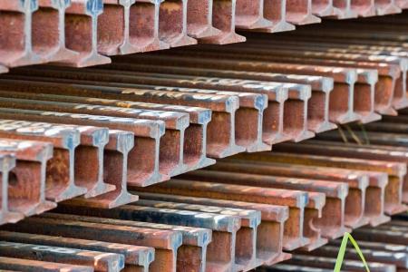 row of corroded steel train rail beams Stock Photo - 21350299
