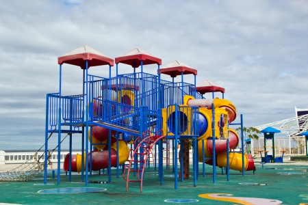 Modern children playground in park at bangsean beach chonburi  thailand. photo