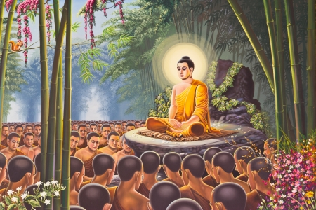 エメラルド仏の壁、バンコク、タイの寺院のハヌマン絵 (パーティション寺院タイの壁に油絵の色、あるない絵になる著作権保護)、 写真素材