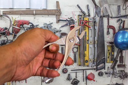 locking: Locking pliers in hand tool  background.