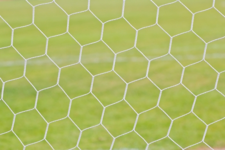 background of football net on a green grass photo