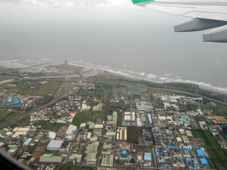 view point from Taiwan airplane comes to Thai photo