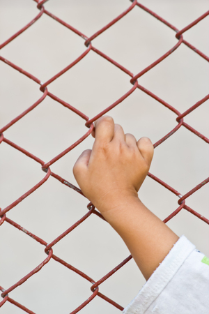 Hand and mesh cage for freedom photo