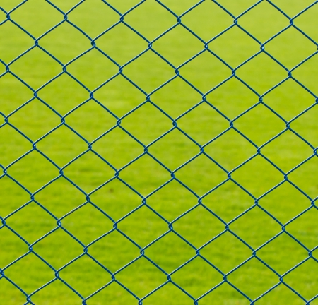 chained link: Metal mesh wire fence with grass background