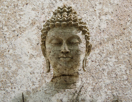 stone Buddha warrior statue ayutthaya photo