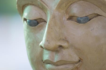 cambodia sculpture: buddha eye makes of wax Stock Photo