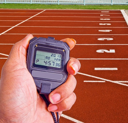 stopwatch in athletics field Stock Photo