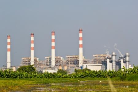 combined: Gas Natural Planta de Ciclo Combinado Foto de archivo