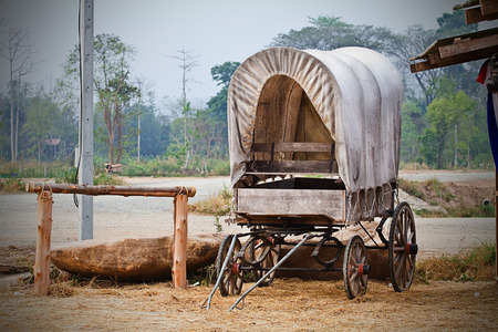 covered wagon: Wild West cart Stock Photo