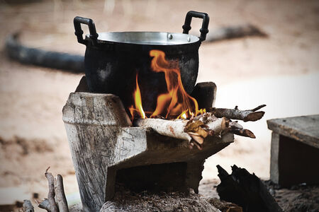 brazier: cook on pot at the charcoal brazier