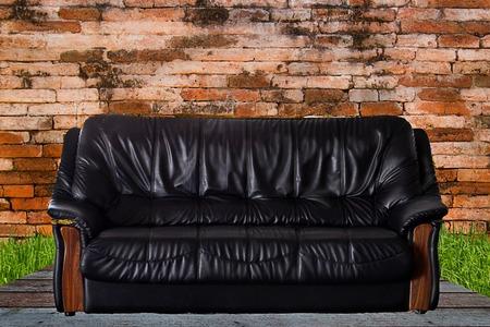 Nice and luxury leather sofa photo