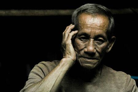 Nice emotional Portrait Image Of sad senior Man photo