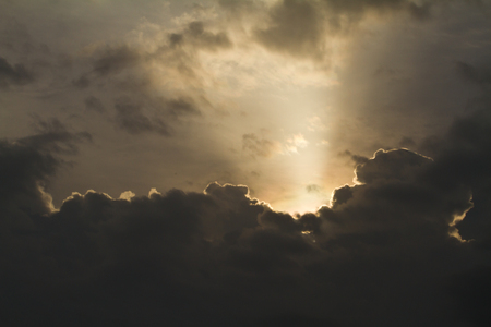 Nimbus in Cloudscape with light beams photo