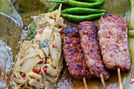 thailand bamboo: Grill sour pork from Thailand,Bamboo Shoot Salad Northeastern Style,Soup Nor Mai,Thai food.