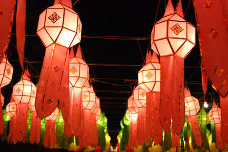 Amazing Paper Lamps of Loi Krathong Festival in Chiang Mai Thailand Stock Photo - 8478417