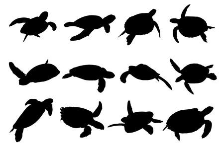 Collectie van turtle vector silhouetten  Stock Illustratie