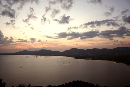 Sunset views. When viewed from the tower view Khao Khad. We can see the Big Buddha at Phuket, Thailand photo