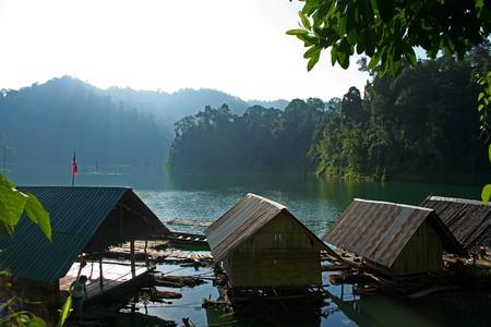 Floating inside the house. Chiao Lan Dam. Surat Thani Province. Stock Photo - 8055671