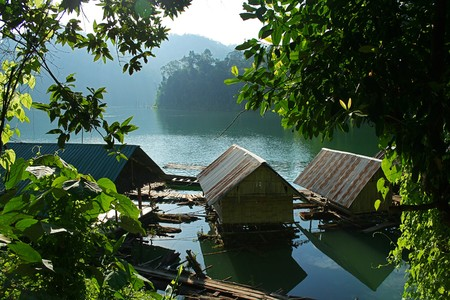 Floating inside the house. Chiao Lan Dam. Surat Thani Province. Stock Photo