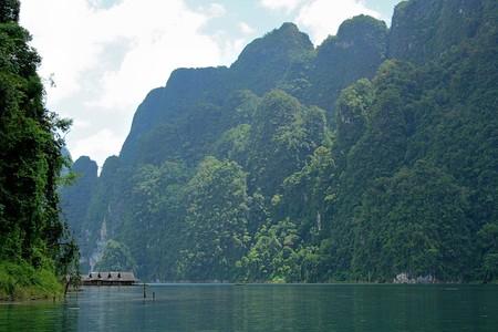 Floating inside the house. Chiao Lan Dam. Surat Thani Province. Stock Photo
