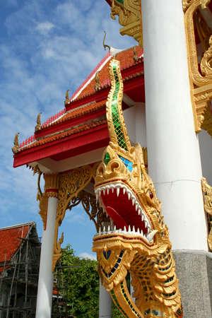 Naka or Big Snake in front of Phuket Thailand Temple photo