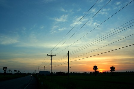 The evening before sunset rural Thailand 版權商用圖片