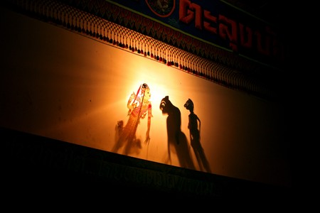 The shadow theater of Southern Thailand. Traditional Thai performances.