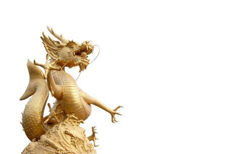 Gold Dragon Sculpture figuur Art China, Phuket Thailand, & quot, algemeenheid in thailand,