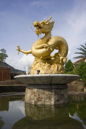 "Gold Dragon Sculpture Figure Art China, Phuket Thailand,"",generality in thailand ,  Stock Photo"