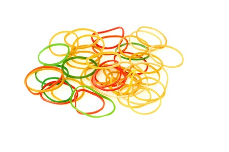 Colorful Rubber Bands On A White Background photo