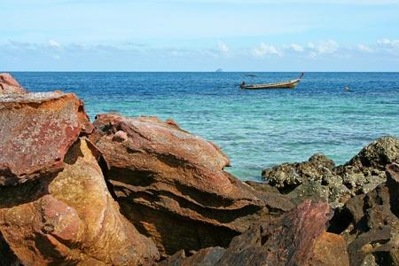 A Rocky Beach On The Ocean. photo
