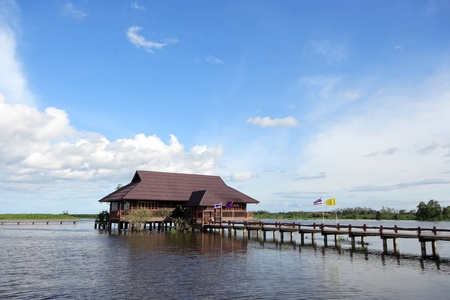 House on wooden stilts in the middle of the Lake. Floating House on the lake. Thailand. photo