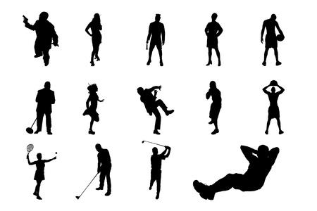 действие: Образ жизни людей в разных позах силуэт вектор коллекции Рисунок из Люди Исполнение Силуэт