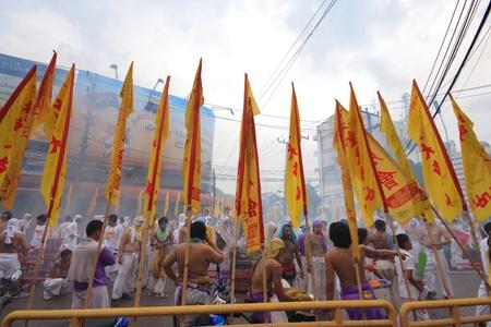palanquin: PHUKET, THAILAND - OCTOBER 19: The Chinese gods parade in Phuket vegetarian festival on October 19, 2012 in Phuket province, Thailand. They walk around Phuket Town.