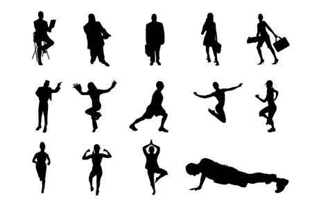 Lifestyle People in Different Poses Silhouette Vector  Collection Stock Vector - 19501462