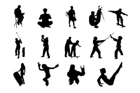 performed: Lifestyle People in Different Poses Silhouette Vector  Collections of Figure from The People Performed in Silhouette