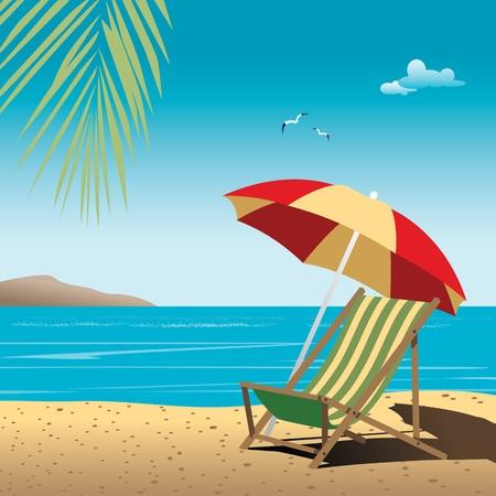 Mooie zomer vector achtergrond met strand Strand, zee, Palmen