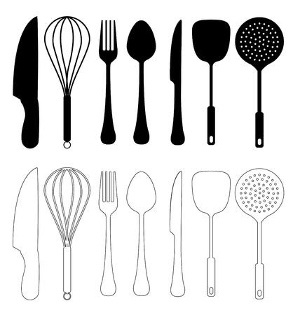 Utensilios de cocina - vector, aislado en blanco, utensilio de la cocina Colección de la silueta Ilustración de vector