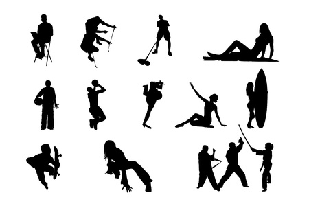 old couple walking: Lifestyle People in Different Poses Silhouette Collections of Figure from The People Performed in Silhouette