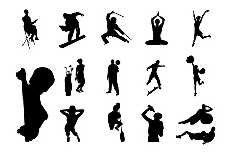 crowd happy people: Lifestyle People in Different Poses Silhouette Collections of Figure from The People Performed in Silhouette
