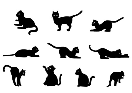 Collection de chat mignon chat noir Illustration